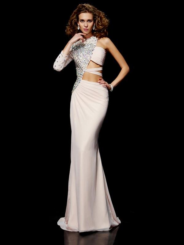 Fabulous Fit Sheath Style One-Shoulder Ruffles Long Chiffon Dresses