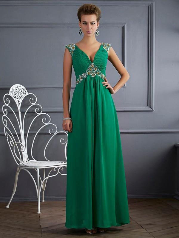 Visual Moment Princess Style V-neck Beading Long Chiffon Dresses