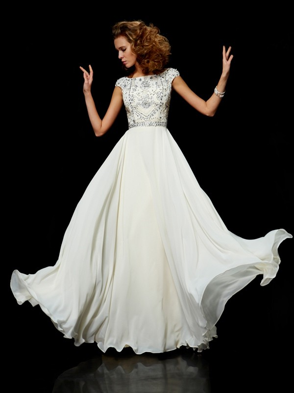 Styled to Smile Ball Gown High Neck Beading Long Chiffon Dresses