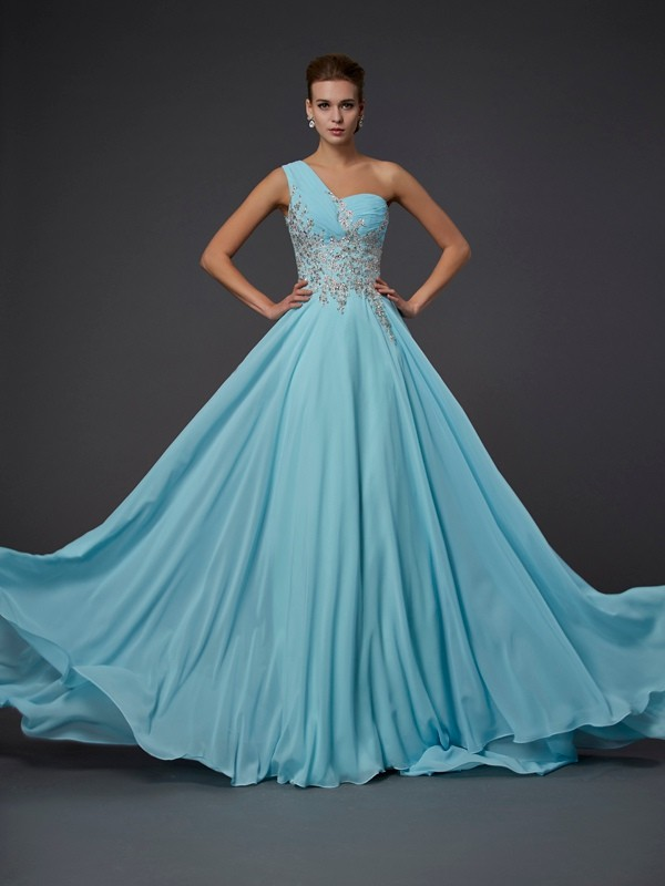 Pleased to be Me Princess Style One-Shoulder Ruffles Long Chiffon Dresses