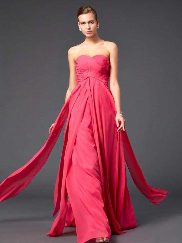 Touch of Texture Sheath Style Sweetheart Ruffles Long Chiffon Dresses