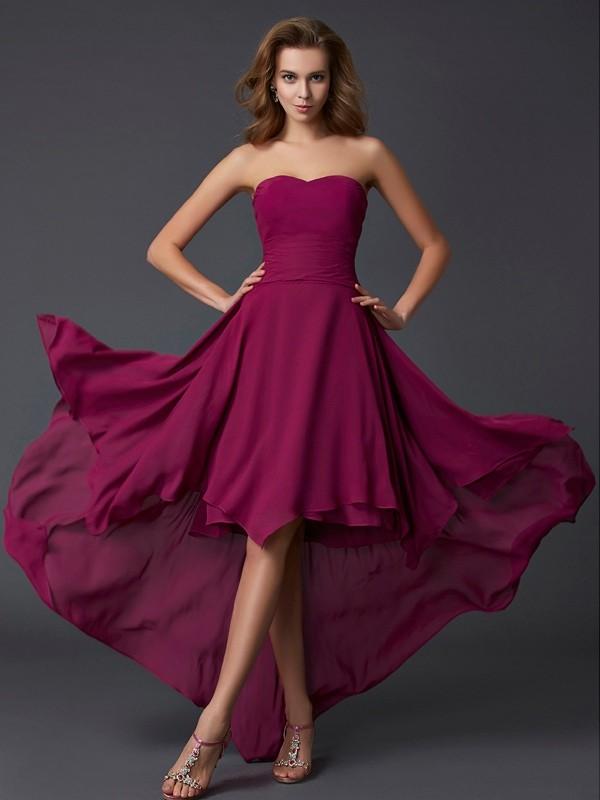 Time to Shine Princess Style Sweetheart Pleats High Low Chiffon Dresses