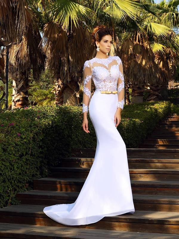Pleased to be Me Sheath Style Scoop Applique Long Chiffon Wedding Dresses