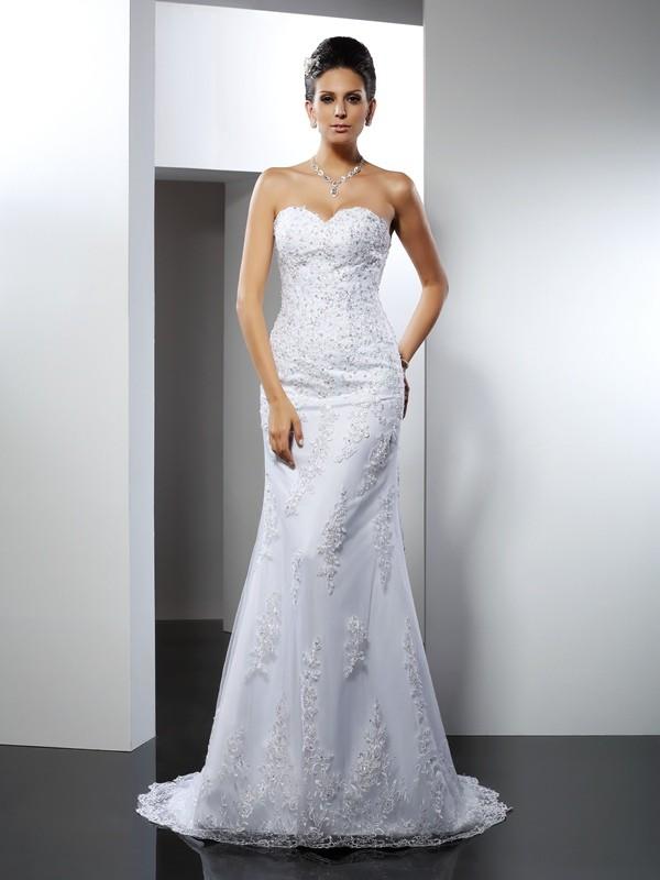 Efflorescent Dreams Mermaid Style Sweetheart Lace Long Satin Wedding Dresses