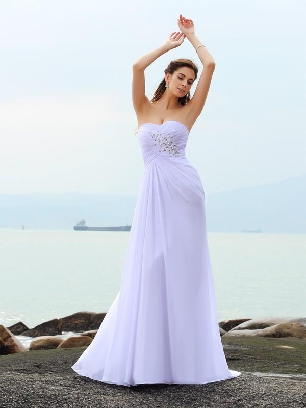 Efflorescent Dreams Sheath Style Sweetheart Beading Long Chiffon Beach Wedding Dresses
