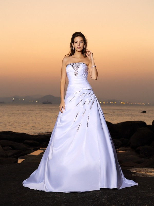 Defined Shine Princess Style Strapless Beading Long Satin Beach Wedding Dresses