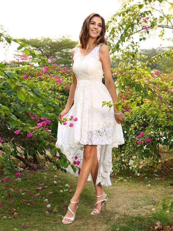 Festive Self Princess Style V-neck Lace High Low Lace Bridesmaid Dresses