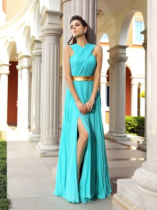 Befits Your Brilliance Princess Style Pleats Long Chiffon Dresses