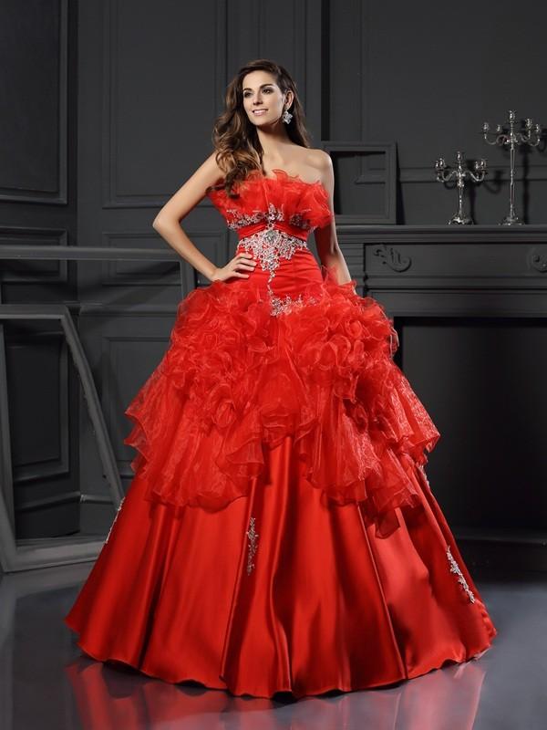 Glitz the Spot Ball Gown Strapless Ruffles Long Organza Quinceanera Dresses