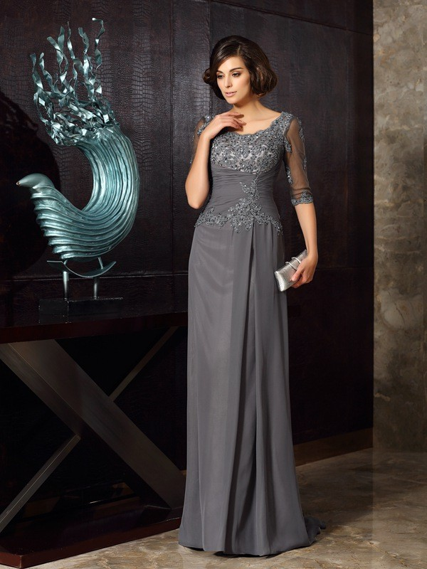 Dancing Queen Princess Style Scoop Beading Long Chiffon Mother of the Bride Dresses