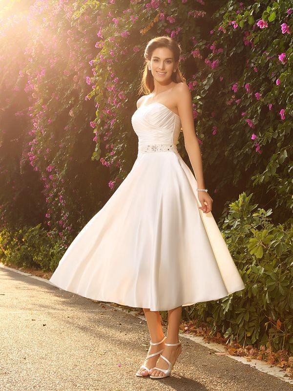 Time to Shine Princess Style Sweetheart Beading Short Satin Wedding Dresses