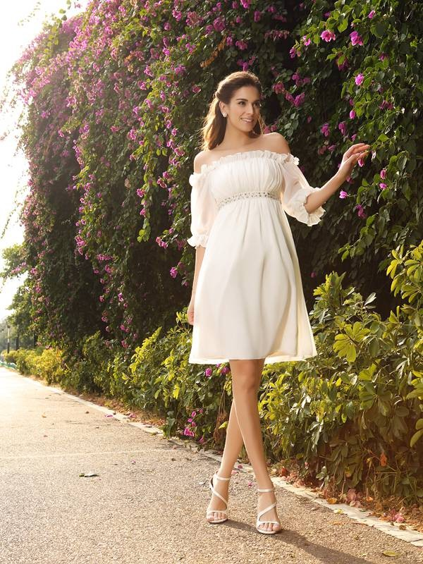 Cordially Delighted Princess Style Off-the-Shoulder Beading Short Chiffon Wedding Dresses