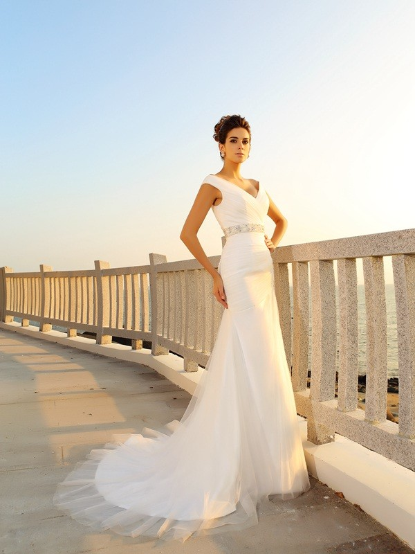 Glitz the Spot Sheath Style V-neck Pleats Long Net Beach Wedding Dresses