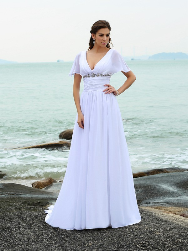 Time to Shine Princess Style V-neck Ruffles Long Chiffon Beach Wedding Dresses