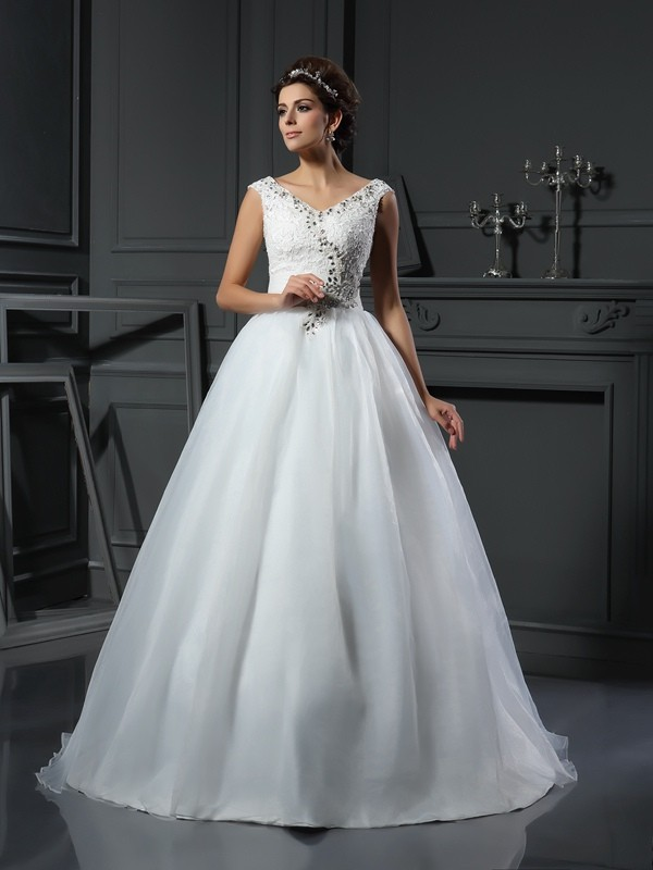 Modern Mood Princess Style V-neck Beading Long Organza Wedding Dresses