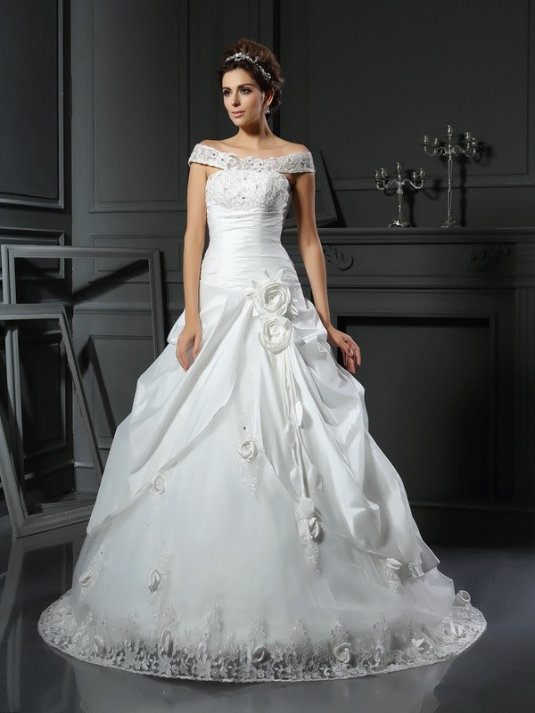 Limitless Looks Ball Gown Off-the-Shoulder Hand-Made Flower Long Satin Wedding Dresses