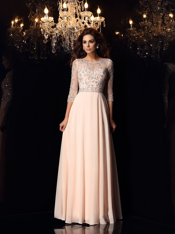 Defined Shine Princess Style Scoop Beading Long Chiffon Dresses