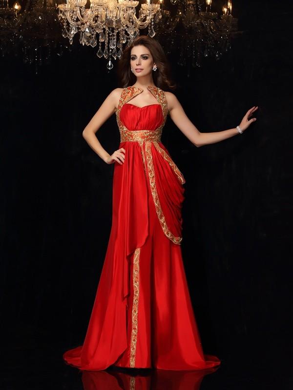 Automatic Classic Princess Style Sweetheart Long Taffeta Dresses