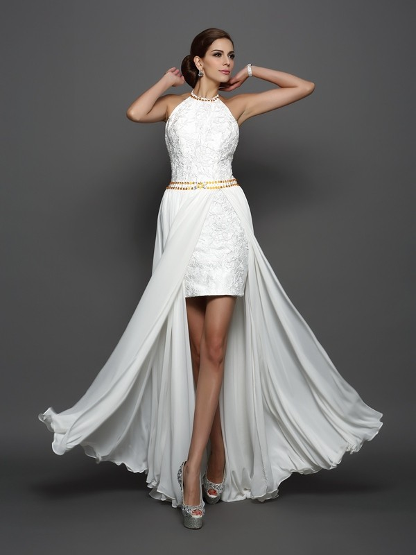 Cordially Delighted Princess Style High Neck Lace Long Chiffon Wedding Dresses
