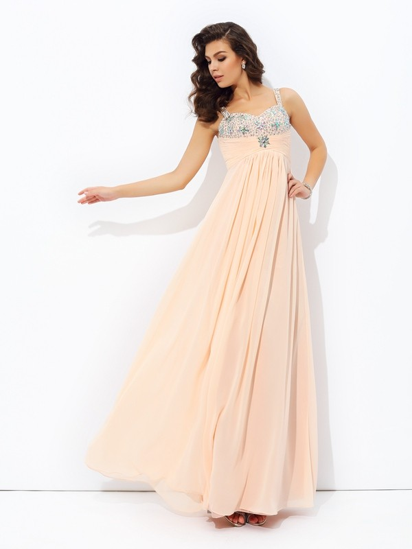 Comfortably Chic Princess Style Spaghetti Straps Beading Long Chiffon Dresses