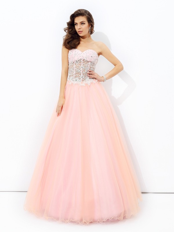 First Impressions Princess Style Sweetheart Lace Long Net Dresses