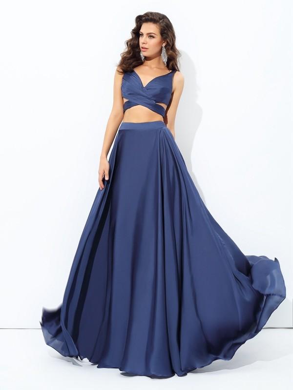 Confident Option Princess Style Straps Long Satin Chiffon Two Piece Dresses