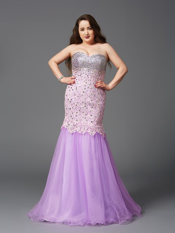 Automatic Classic Mermaid Style Sweetheart Beading Long Net Plus Size Dresses