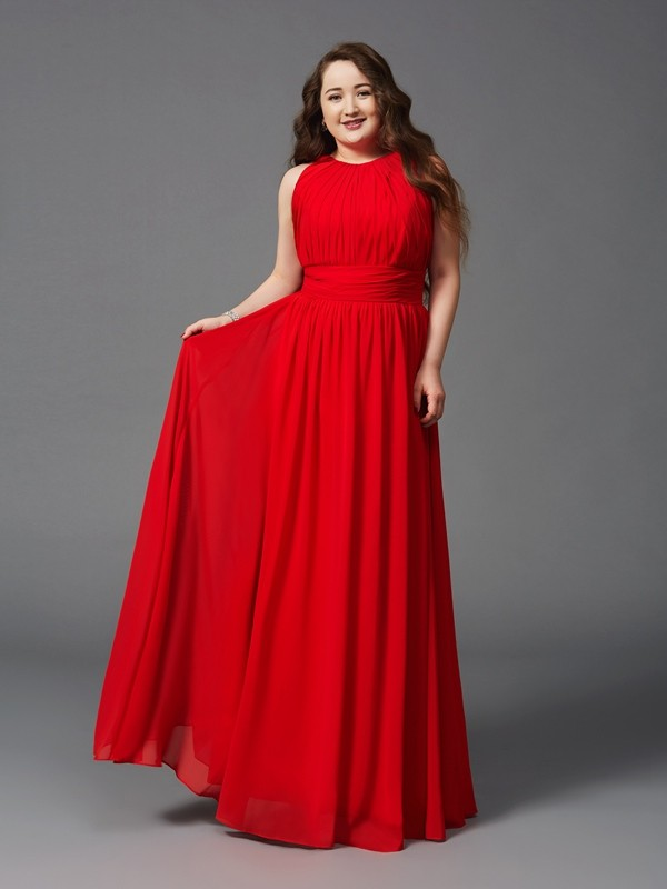 First Impressions Princess Style Jewel Ruched Long Chiffon Plus Size Dresses