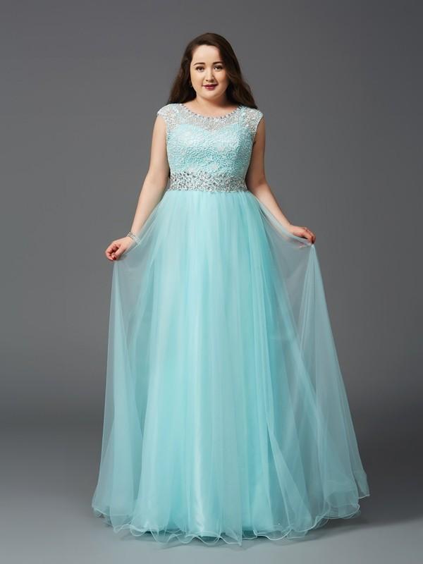 Confident Option Princess Style Scoop Rhinestone Long Tulle Plus Size Dresses
