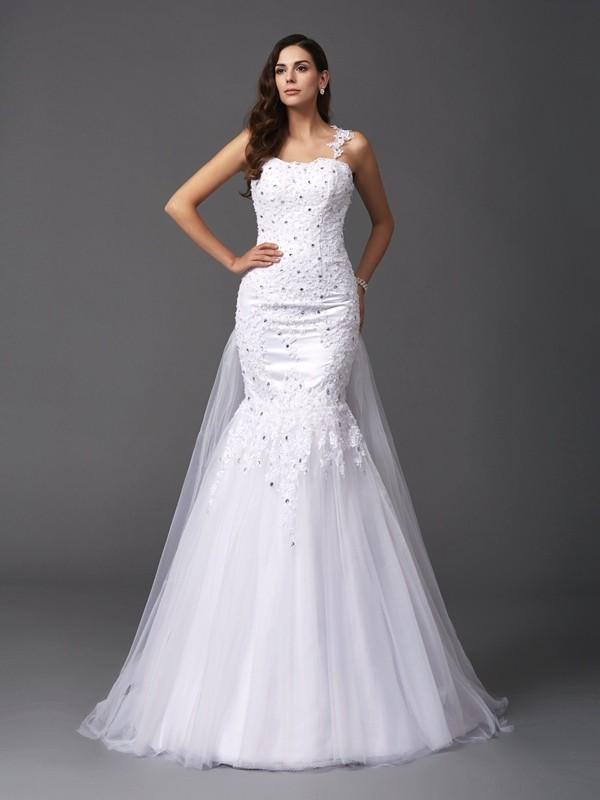 Lively Identity Mermaid Style Straps Beading Long Net Wedding Dresses