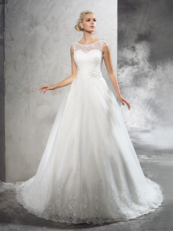 Yours Truly Ball Gown Sheer Neck Sash/Ribbon/Belt Long Net Wedding Dresses