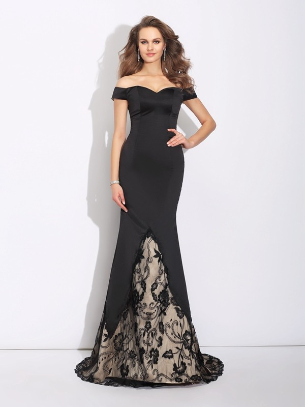 Memorable Magic Mermaid Style Off-the-Shoulder Lace Long Satin Dresses