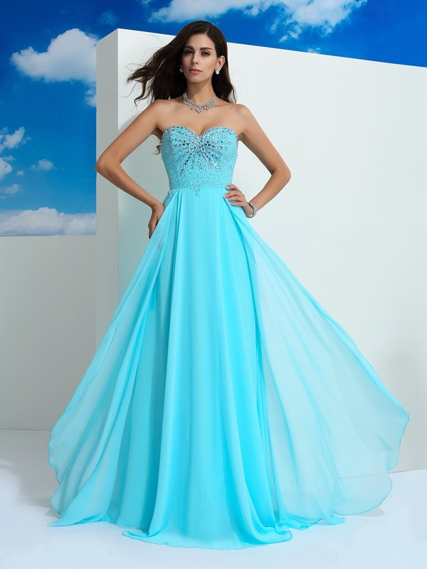 Glitz the Spot Princess Style Sweetheart Beading Long Chiffon Dresses