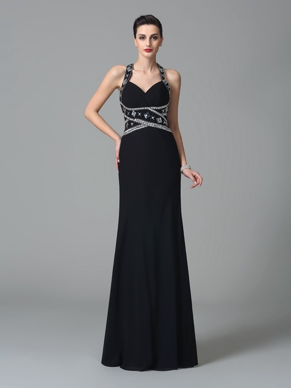 Aesthetic Honesty Sheath Style Straps Beading Long Chiffon Dresses