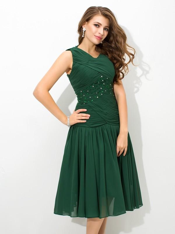 Efflorescent Dreams Princess Style Scoop Pleats Short Chiffon Dresses