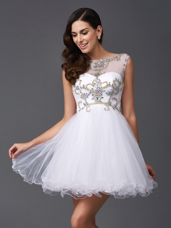 Festive Self Princess Style Scoop Beading Short Net Dresses