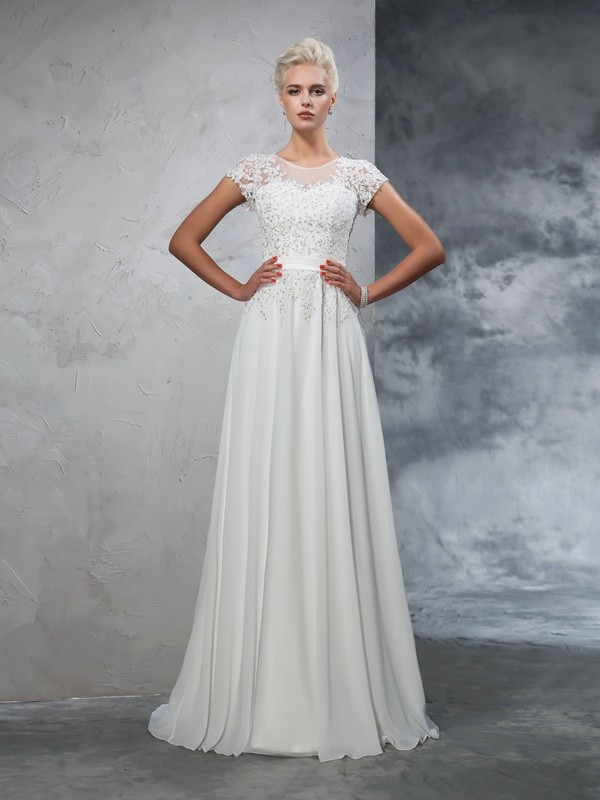 Festive Self Princess Style Sheer Neck Applique Long Chiffon Wedding Dresses