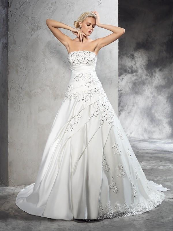 Stylish Refresh Ball Gown Strapless Beading Long Satin Wedding Dresses