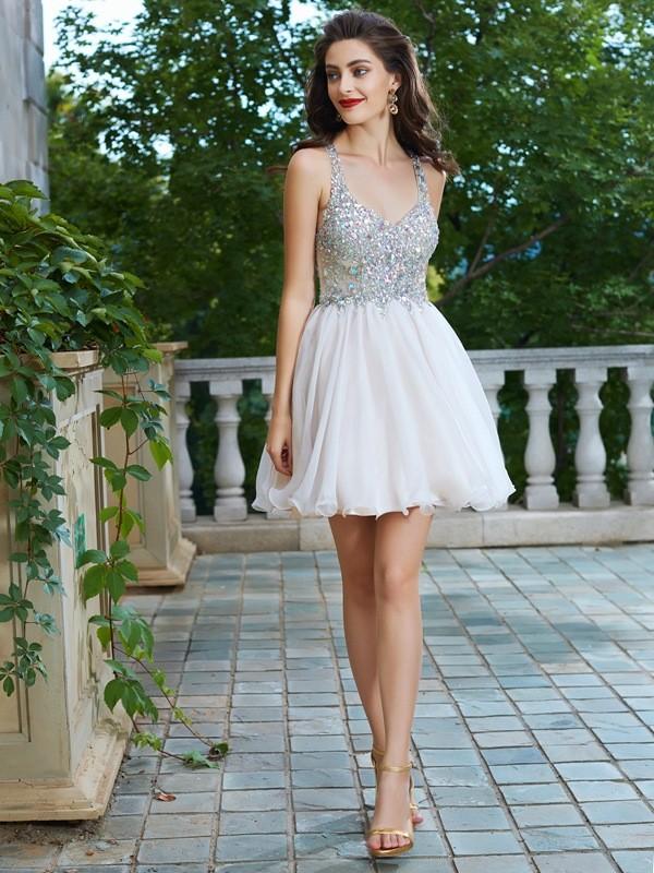 Visual Moment Princess Style Straps Rhinestone Short/Mini Chiffon Dresses