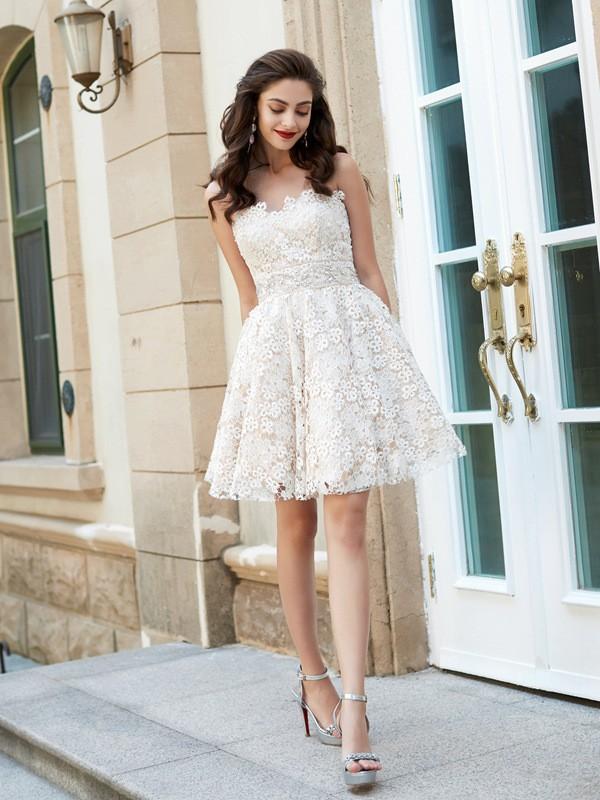 Styled to Smile Princess Style Sweetheart Rhinestone Short/Mini Lace Dresses