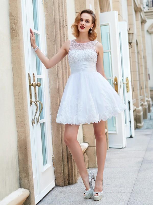 Pretty Looks Princess Style Jewel Pearls Short/Mini Lace Dresses