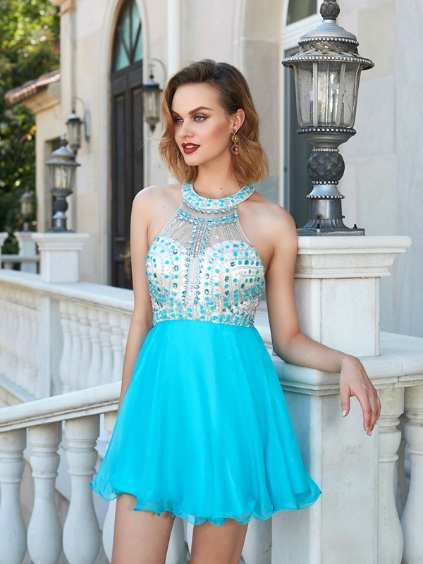 Pleasant Emphasis Princess Style Halter Beading Chiffon Short/Mini Dresses
