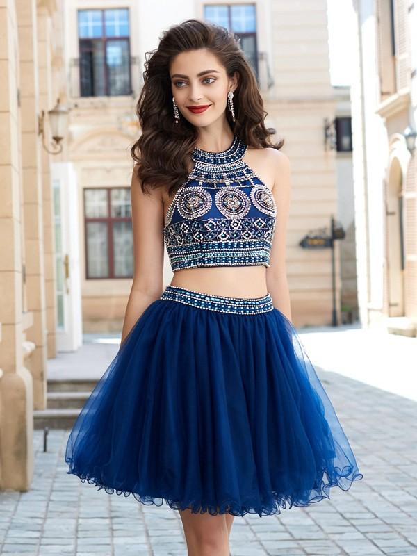 Fabulous Fit Princess Style Jewel Beading Short/Mini Net Dresses