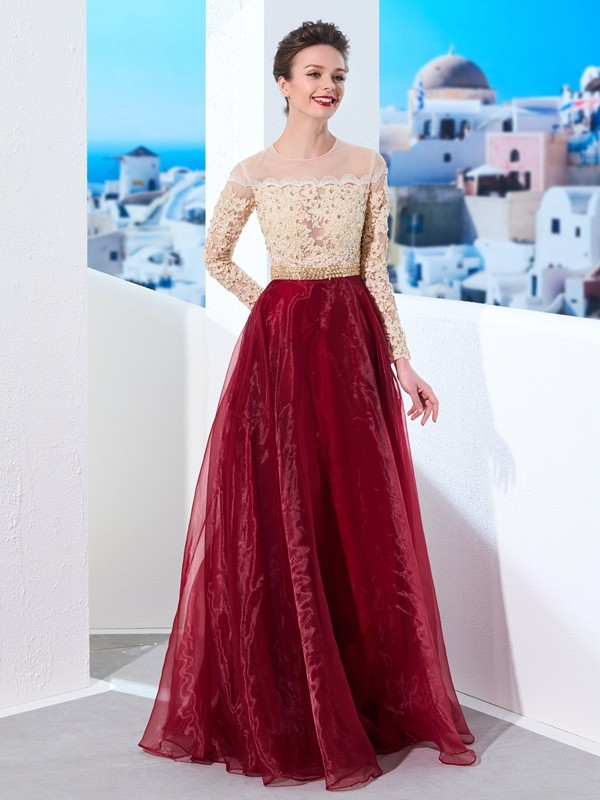 Touch of Texture Princess Style Sheer Neck Floor-Length Applique Organza Dresses