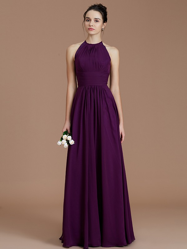 Cordially Delighted Princess Style Halter With Ruched Floor-Length Chiffon Bridesmaid Dresses