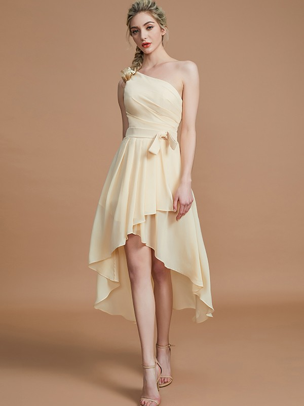 Eye-Catching Charm Princess Style One-Shoulder With Layers Asymmetrical Chiffon Bridesmaid Dresses