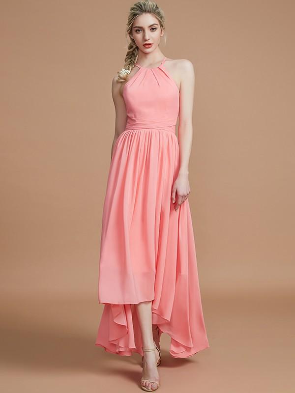 Cordially Delighted Princess Style Halter Asymmetrical Chiffon Bridesmaid Dresses
