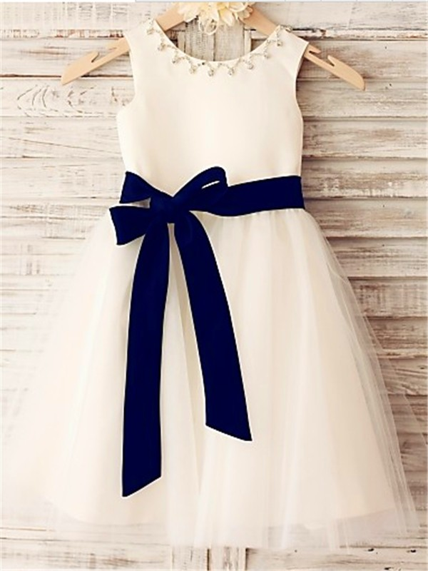 Time to Shine Princess Style Scoop Bowknot Tea-Length Tulle Flower Girl Dresses