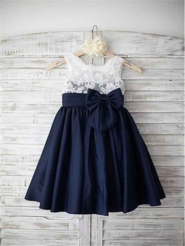 A-line/Princess Straps Sleeveless Bowknot Floor-Length Chiffon Flower Girl Dresses