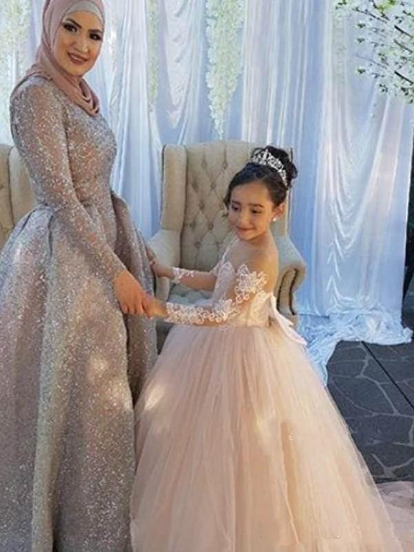Sweet Sensation Ball Gown Off-the-Shoulder Sweep/Brush Train Applique Tulle Flower Girl Dresses